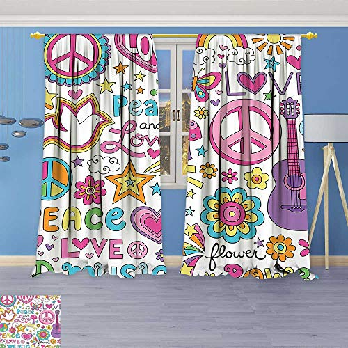 Philiphome 2 Panel Set Digital Printed Window Curtains,Collection Sunlights Sunny Floral Birds Guitar Flower Power Stars Quotes Peace Love Image for Bedroom Living Room Dining (Guitar Triple Deck)