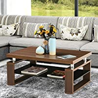 Topeakmart Coffee Table with Under Tempered Glass Storage Shelf Wooden Top & Wooden Legs Modern Living Room Furniture (Brown)
