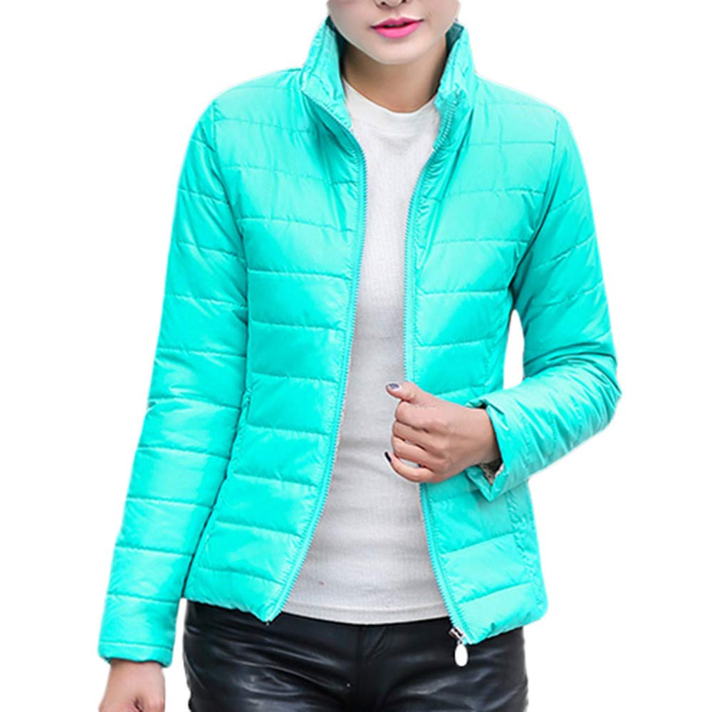 Amazon.com: AOJIAN Women Jacket Long Sleeve Outwear Stand Collar Zipper Pocket Quilted Slim Pure Color Coat Lake Blue: Clothing