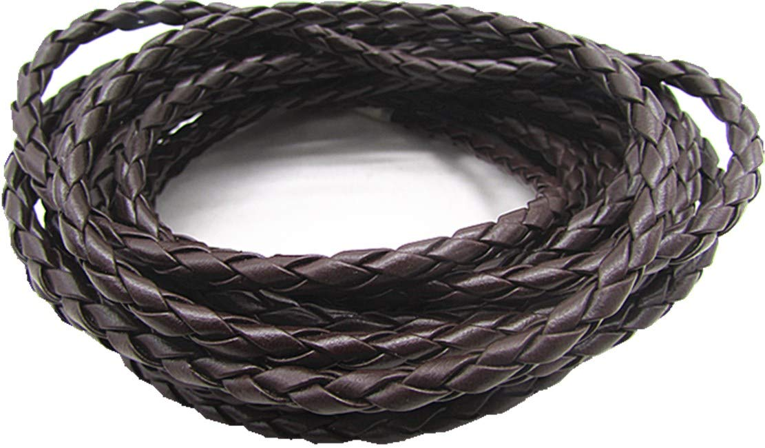 Black 4.0mm Round Folded Bolo PU Braided Leather Cord for Necklace Bracelet Jewelry Making 5M