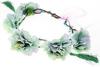 QCBC Tocado de bodaGuirnalda Peony Flor Halo Nupcial Floral Corona Corona de Pelo Corona de Menta Corona Guirnalda Headpiece Bridesmaid , d
