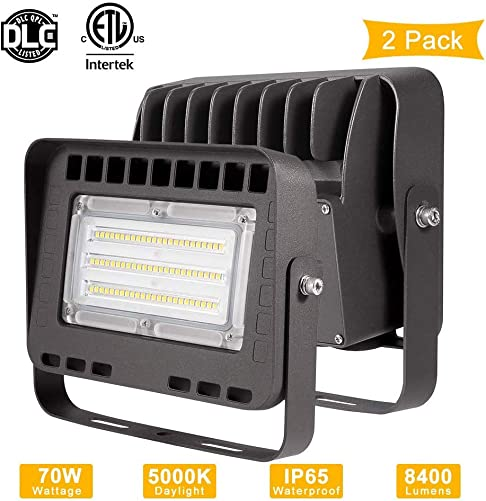 Lightdot 2 Packs LED Flood Light Outdoor,70W 8400Lumens 5000K IP65 Waterproof, Super Bright Outdoor LED Security Light Light with Trunnion for Doorways Pathways Yard Advertising Board