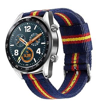 Estuyoya - Pulsera de Nylon Compatible con Huawei Watch GT Sport/GT Classic/Fashion/GT Active Colores Bandera de España, Ancho 22mm Ajustable ...