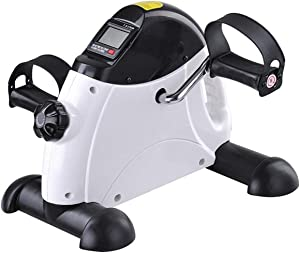 Pedal Exerciser Under Desk Bike with LCD Monitor Resistance for Arms and Legs, Stationary Mini Exercise Bike Pedals Peddler Exerciser for Seniors at Office or Home