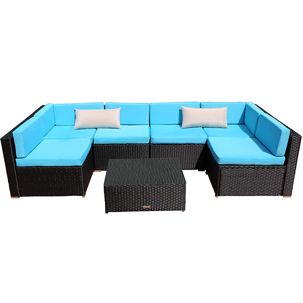 Yardeen 7-Piece Outdoor Patio Furniture Rattan Wicker Sectional Sofa Set Backyard Furniture Kit Indoor and Outdoor with Tea Table Color Blue