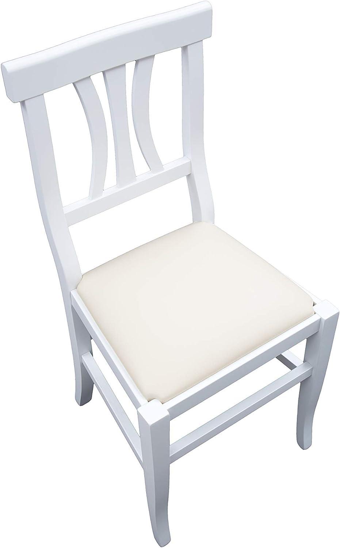 White loft Set di 2 Sedie Bianche Fondino Ecopelle Crema