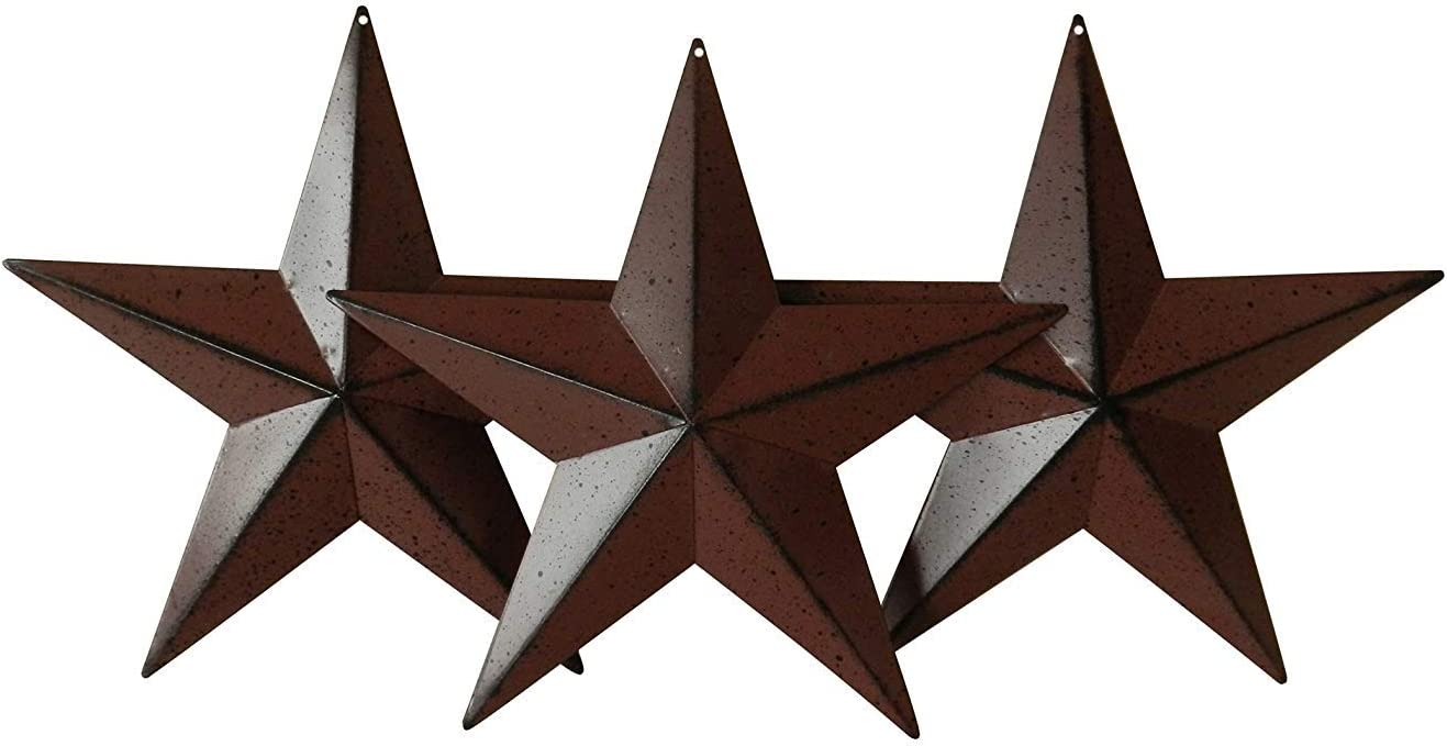 "Cute Country Rustic Antique Vintage Gifts Metal Barn Star Wall Door Decor Small 4"" Set of 3"