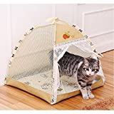 3 Colors Portable Folding Cute Dog House Tent for Small Medium Dogs Suitable for Indoor and Outdoor (Khaki)