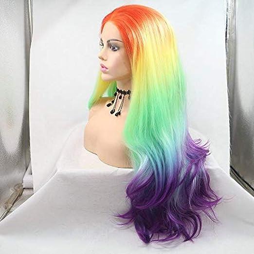 peluca peluca larga colorido pastel-naranja/amarillo/verde ...