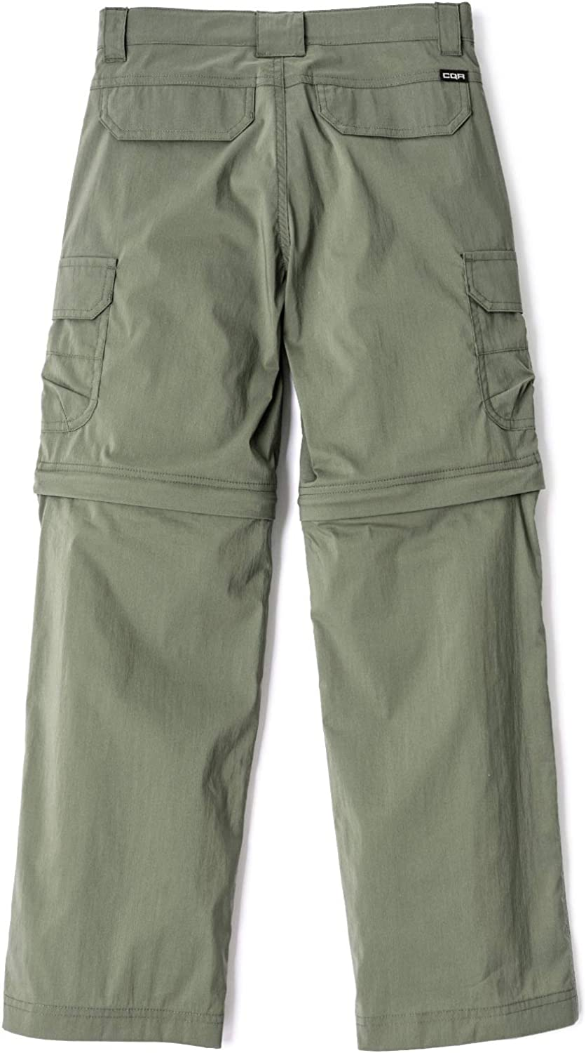 Quick Dry Cargo Trousers CQR Kids Boys and Girls Pants Youth Hiking Adventure Convertible Zip Off Stretch Camping UPF 50