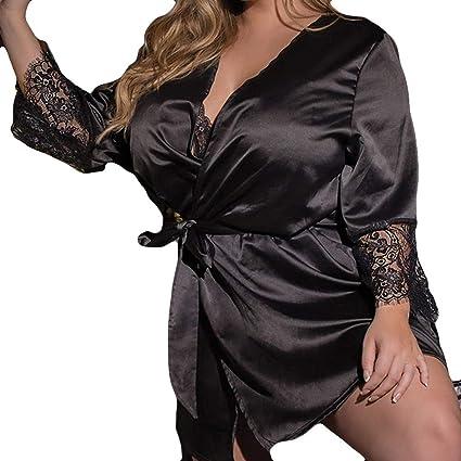 Kimono Batas Mujer, Modaworld Moda Ropa Interior de Encaje Sexy Tallas Grandes de tentación Vestidos de Dormir Camisón Lenceria Erotica de Mujer: Amazon.es: ...