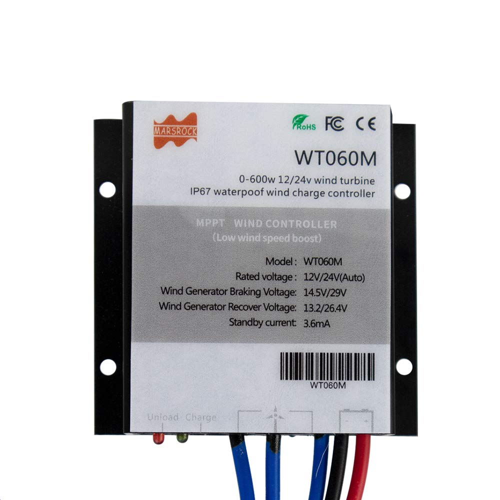 Marsrock IP67 0-600W MPPT Mini Home Windmill Controller Wind Turbine Generator Controller 12V/24V Auto Suitable for DC and AC Wind Windmill Turbine