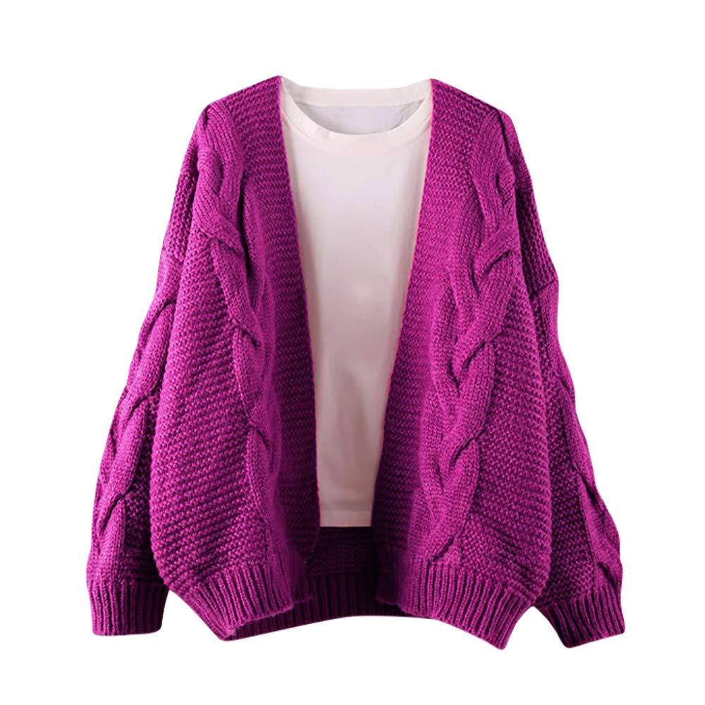 OCASHI Women Teen Girl Solid Tops Cardigans Chunky V Open Front Long Sleeve Knit Sweater Kimono Coat (US:16, Hot Pink)