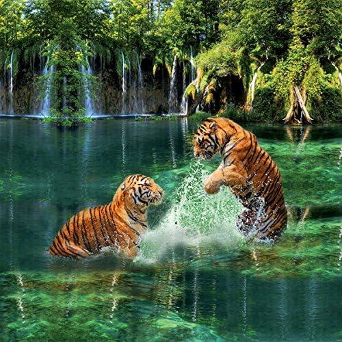 Personnes Housse de Couette 3D Deux Tigres Motif Impression Numérique Fibre Matériel Ensembles de literie-Vert, 240 * 225
