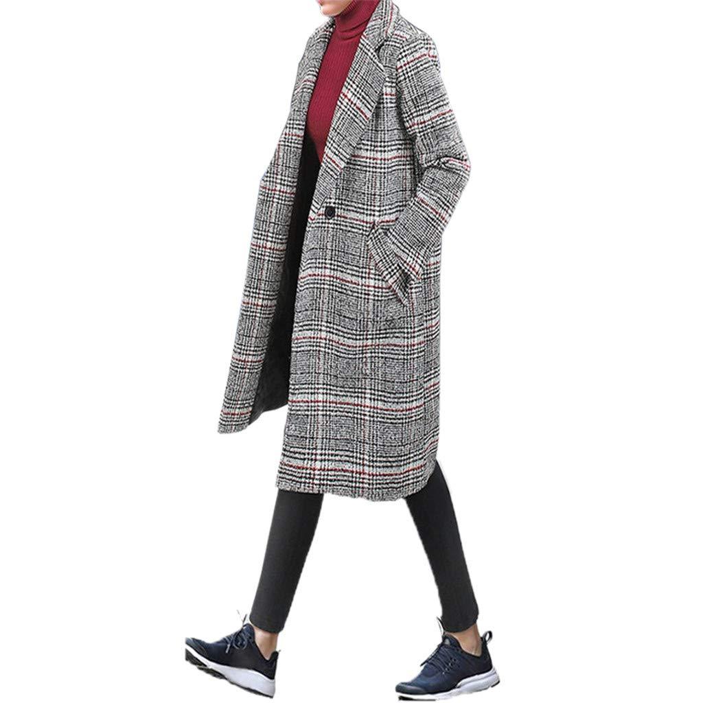 Hanomes Damen Mantel,Damen Winter Warme Parka Mode Vintage Kariert Wolltuch Mantel Verdicken BaumwolleMantel Lange Revers Knopf Strickjacken