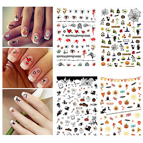Halloween Nail Stickers 3D Nail Tattoo Art Decals Decoration - 4 Sheets -