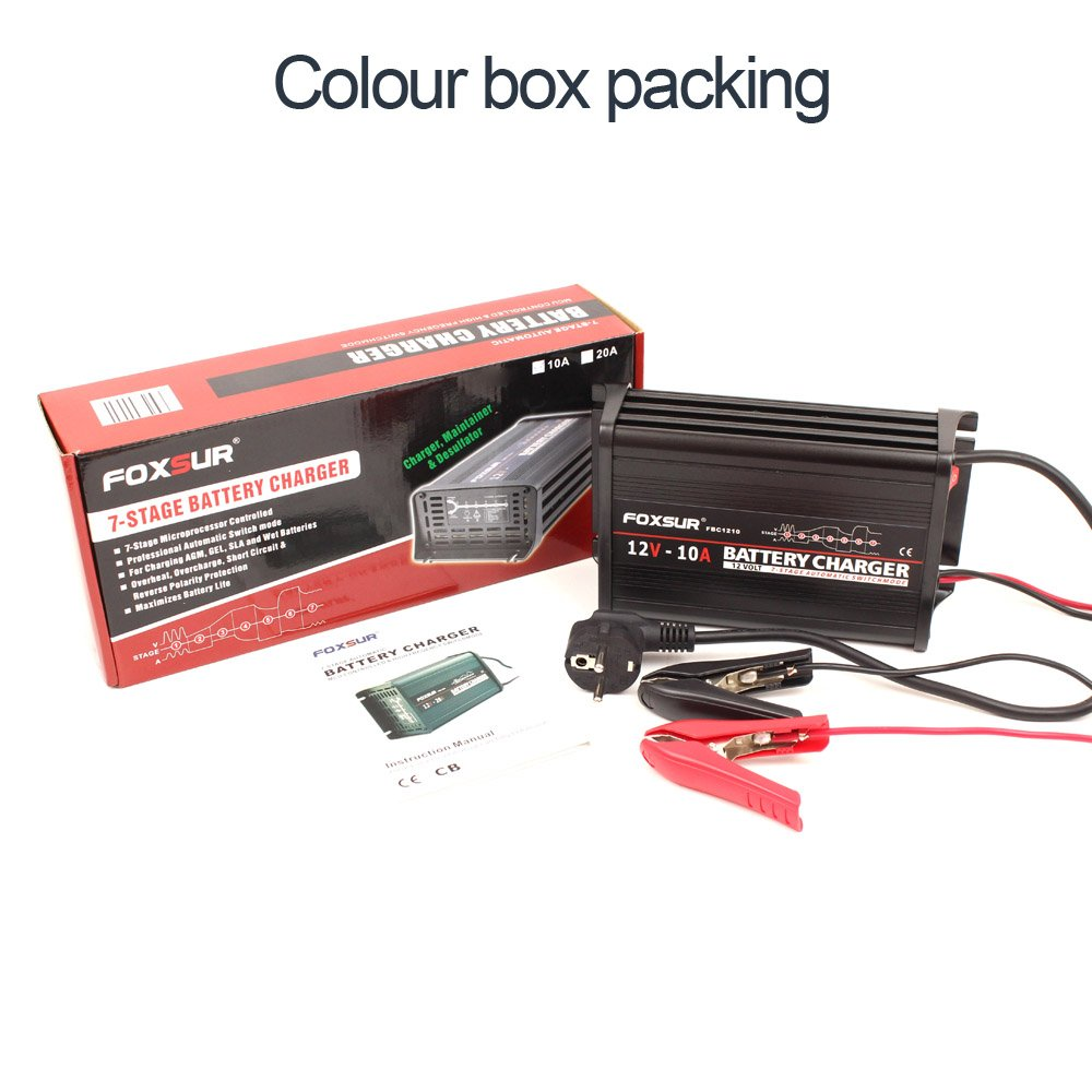 Foxsur 12v 10a 7 Stage Smart Battery Charger Lead Acid Gel Wet Agm Fox Wiring Diagram Car Aluminum Case Pulse