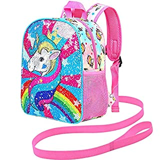 "Toddler Backpack Leash, 10.5"" Unicorn Backpack Sequin"