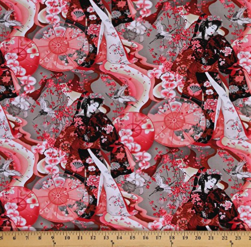 Cotton Michiko Oriental Geishas Parasols Floral Cotton Fabric Print by the Yard 7448-092