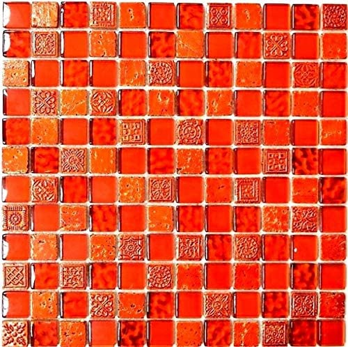 MOS83-CB30 Mosaic Tiles Translucent Red Glass Mosaic Crystal Resin Structure