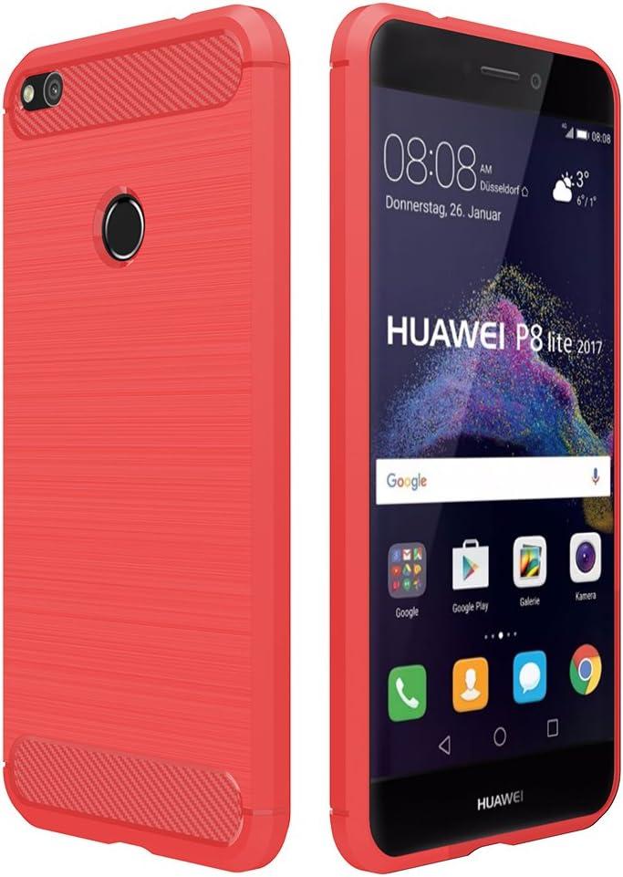 Simpeak Funda Compatible con Huawei P8 Lite 2017 (5,2 Pulgadas), Fundas Compatible con Huawei P8 Lite 2017 (No Compatible con Huawei P8 Lite) Gel Silicona Premium TPU Case, Rojo: Amazon.es: Electrónica