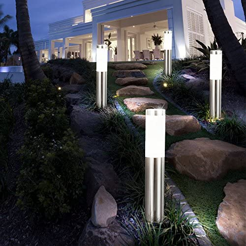 6er Set LED Außen Steh Lampen Hof Einfahrt Beleuchtung Edelstahl Garten Weg Stand Leuchten silber