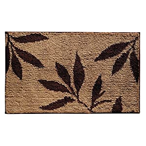 "InterDesign Microfiber Leaves Bathroom Shower Accent Rug - 34"" x 21"", Brown/Tan"