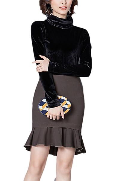Las Mujeres De Cuello Alto Estilo Camiseta Blusa De Terciopelo Monocolor Black L