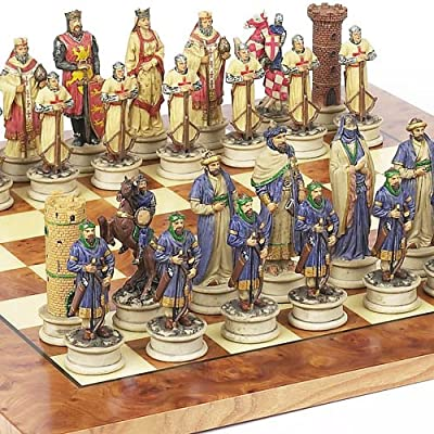 Hand Painted Crusade Chessmen & Agostino Chess Board From Italy. King: 4 1/2""