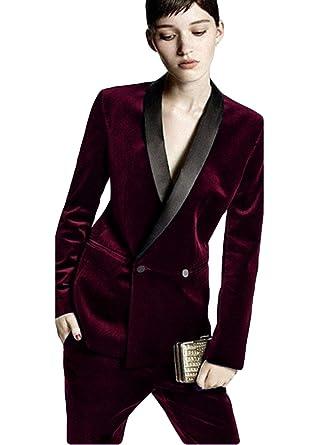 e89e3ff9810 Amazon.com  TWN Women s Tailored Ladies Formal Suits Velvet Business Suits  Evening Trouser Suit  Clothing