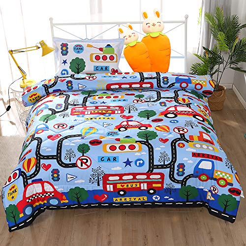 Wowelife Cars Toddler Bedding Set 4 Piece BlueToddler Bed Set with Comforter, Flat Sheet, Fitted Sheet and Pillowcase…