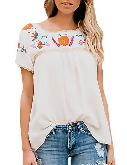 Blusas Verano Mujer Elegantes Lace Bordadas De Flores Manga Corta Suelto Ropa Fiesta Modernas Moda Casual Camisas Blusa Top: Amazon.es: Ropa y accesorios