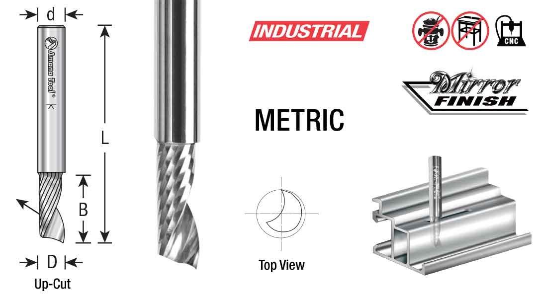 Aluminum Cutting 10 D x 30 CH x 10 SHK x 76mm Long Up-Cut ?Router Bit with Mirror Finish Amana Tool 57306 Metric SC CNC Spiral O Single Flute
