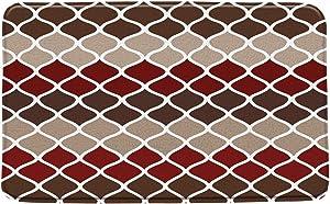 Geometric Bath Mat Geometry Lines Moroccan Style Vintage Classical Pattern Burgundy Red Brown Microfiber Memory Foam Bathroom Decor Mat Non Slip Backing 20X31Inch
