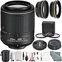 Nikon AF-S DX NIKKOR 55-200mm f/4-5.6G ED VR II Lens and Deluxe Accessory Bundle W/ 52mm Wide-angle & Telephoto Lens + Xpix Lens Handling Accessories