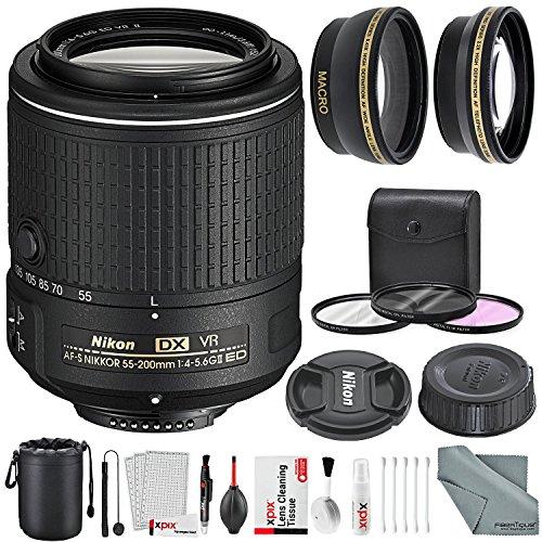 Nikon AF-S DX NIKKOR 55-200mm f/4-5.6G ED VR II Lens and Deluxe Accessory Bundle W/ 52mm Wide-Angle & Telephoto Lens + Xpix Lens Handling Accessories