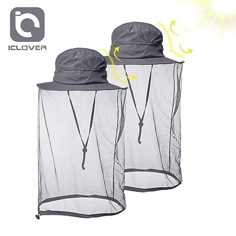cf575c7bb6c IC ICLOVER Mosquito Head Net Hat Quick Dry Hiking Sun Hat Safari Hat Bucket  Hat with