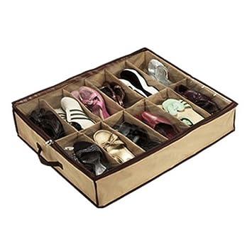 leading-star 12Pair Zapatos del organizador del almacenaje del zapato Holder Bolsa Caja Tela Closet: Amazon.es: Hogar