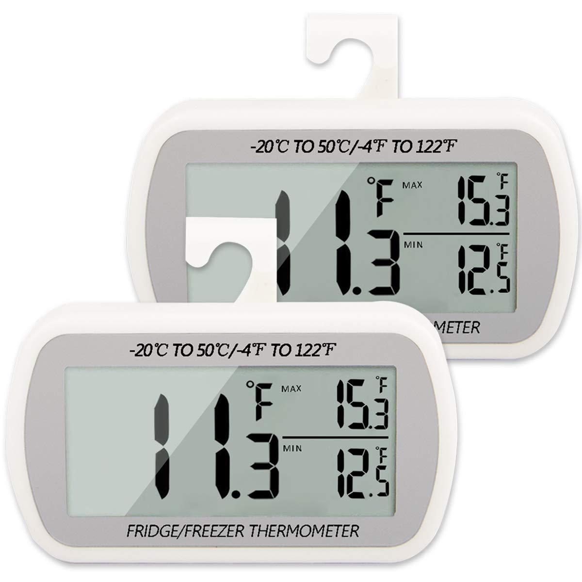 Refrigerator Thermometer 2 Pack Digital Fridge Freezer Room Thermometer Hanging