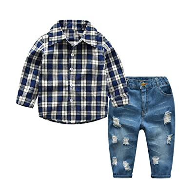 ANNA Judy Kids Boys Casual Long Sleeve Plaid Shirt and Ripped Jeans Clothing Sets (Blue, 120/5years)
