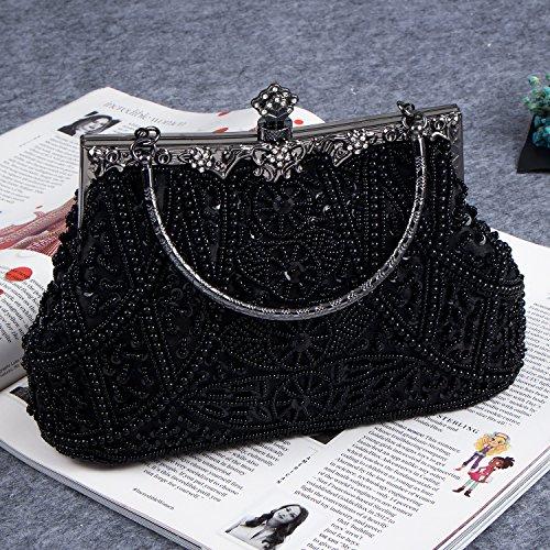 Purses Flower Bagood Vintage Beaded Wedding for Sequin Bag Shoulder Black Clutches Handbag Bags Women's Evening Seed Party Prom Bridal twqr7q51fF