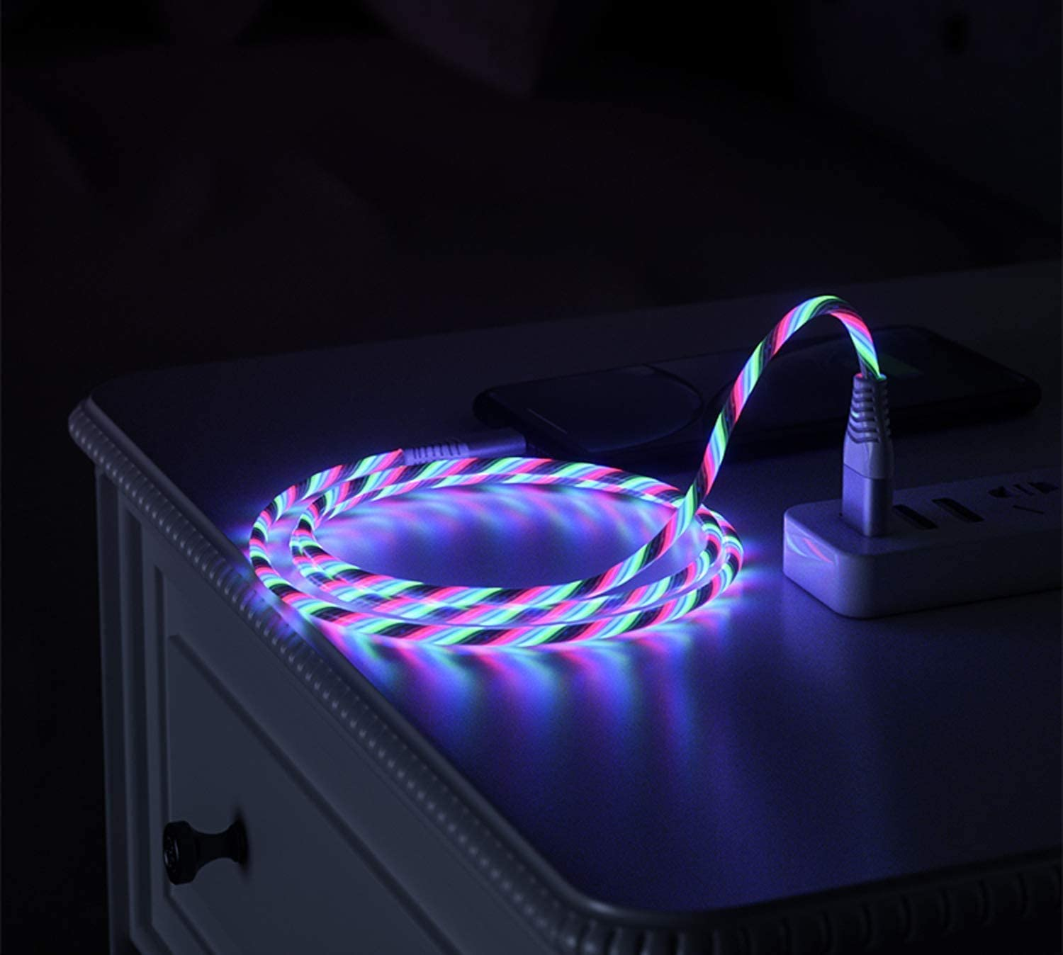 Color-changing//3.3ft QIKIQI 3 Packs Flowing Led 3 in 1 Charging Cable Light Up Glowing Muti Charging Cable Micro USB//Type C//IP Compatible with Phone XS MAX// 11 Pro Max//8 Plus//Galaxy Note 10 Plus//S10