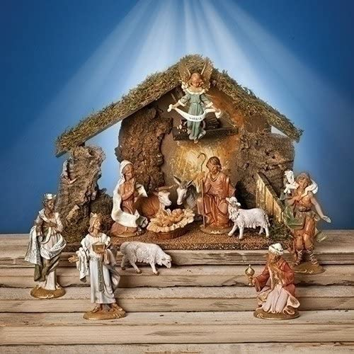 Fontanini 12 Piece Italian Christmas Nativity Set with Wooden Stable 54107 Italy
