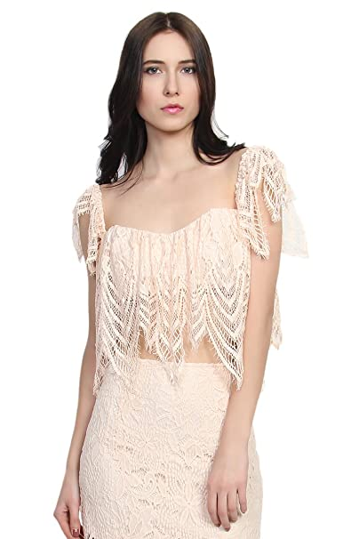 6f5500154879f3 TheMogan Women s Eyelash Lace Overlay Off The Shoulder Crop Top Peach S