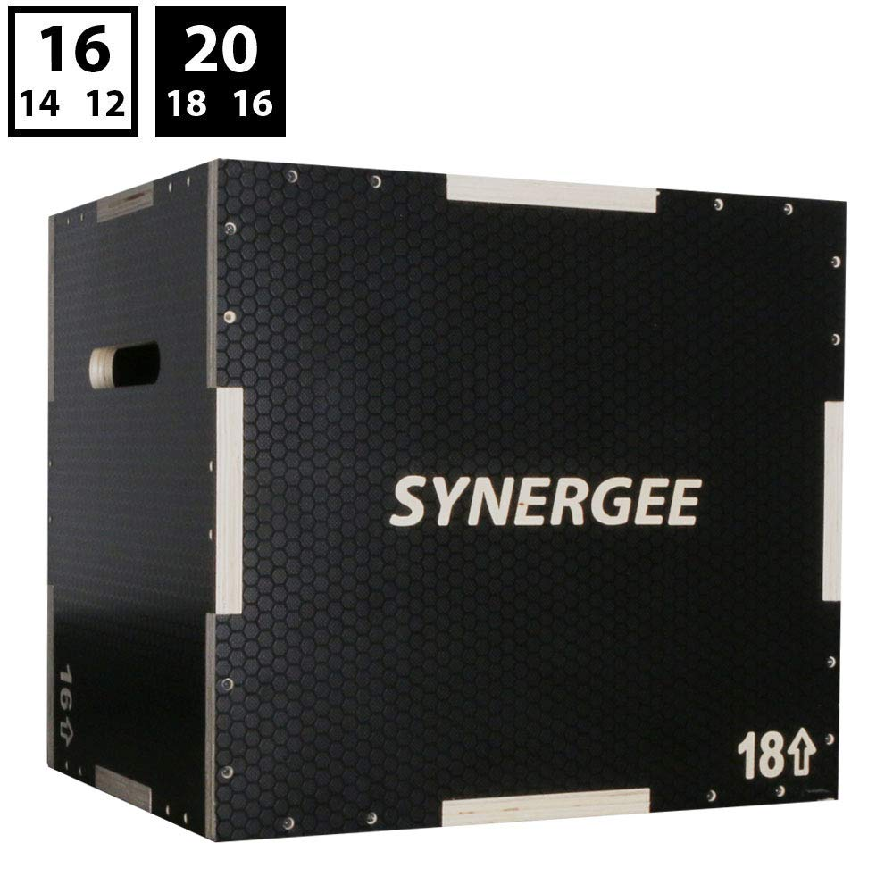 Synergee 3 in 1 Non-Slip Wood Plyometric Box for Jump Training and Conditioning. Wooden Plyo Box All in One Jump Trainer. Size - 20/18/16 by Synergee