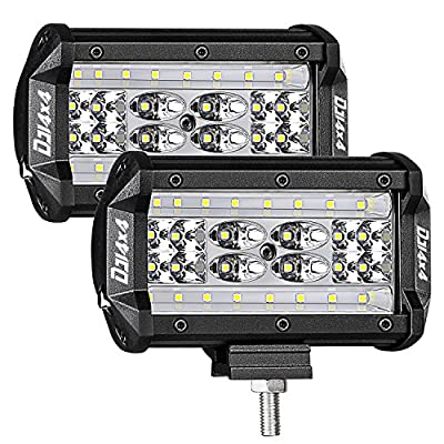 CREE LED Pods, DJI 4X4 2PCs LED Light Bar Flood Beam Offroad Driving Fog Lights Unique Black Panel for Trucks Jeep SUV ATV UTV Boat Motorcycle by Dji 4x4