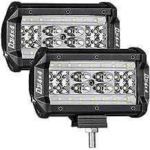 LED Pods, DJI 4X4 2Pcs 5'' 168W QUAD Row LED Light Bar OSRAM Spot Flood Combo Beam Off road LED Cubes Work Light Driving Fog Lamps for Trucks Jeep ATV UTV SUV Boat Marine, 2 Years Warranty