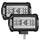 DJI 4X4 LED Pods, 2Pcs 5'' 168W Quad Row LED Light Bar OSRAM Spot Flood Combo Beam Off Road LED Cubes Work Light Driving Fog Lamps for Trucks Jeep ATV UTV SUV Boat Marine, 2 Years Warranty