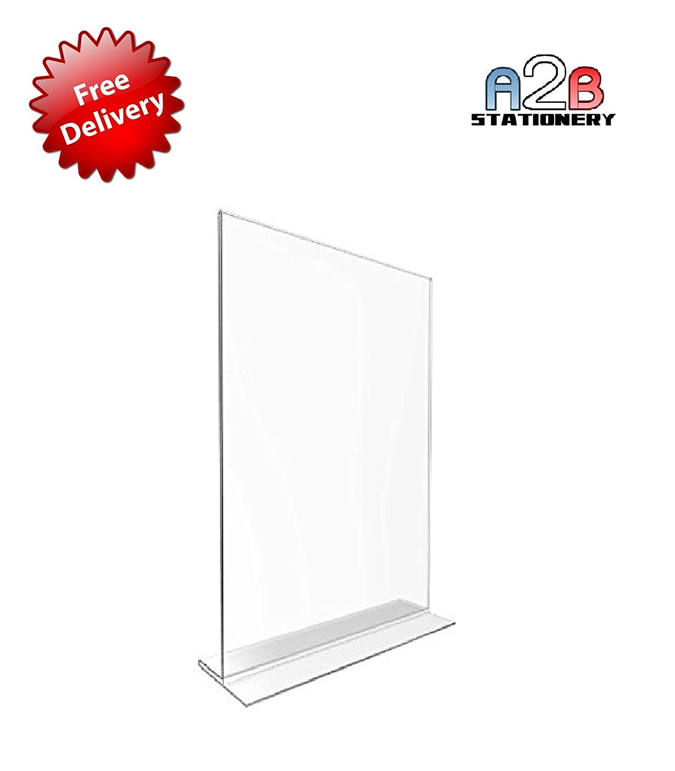 a2b stationery 1 x a5 acrylic poster menu holder t sign portrait to perspex leaflet display stands free shipping amazon co uk office products