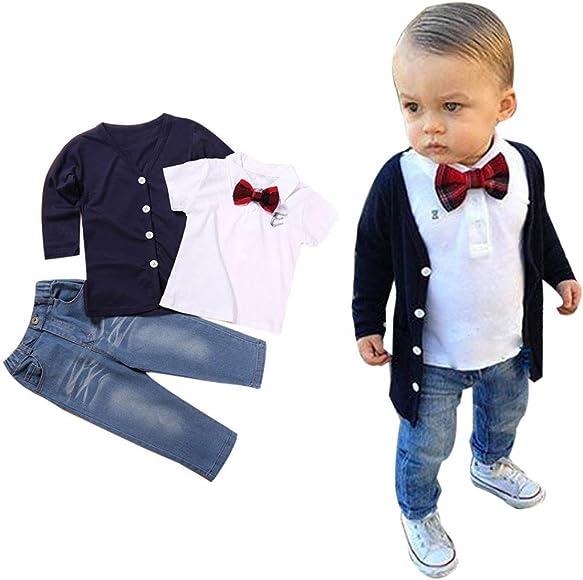 Pants Casual Suit 3Pcs Clothing Sets Vest Weixinbuy Little Boys Long Sleeve Tie Shirts